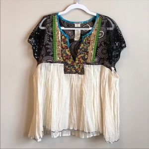 "Free People Boho ""Baby Doll"" Lace Sequin Top"